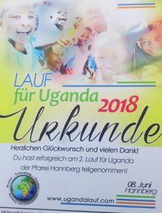 Urkunde des Laufes für Uganda 2018 im fränkischen Hannberg (Gemeinde Hessdorf). KiSuS - Kinder, Spiel und Spaß war dabei.